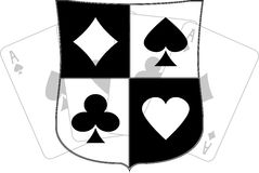 Stencil of shield with card suits Royalty Free Stock Photo