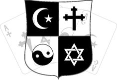 Stencil of shield and religious symbols Stock Images