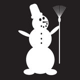 Stencil snowman with broom Royalty Free Stock Photo