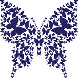 Stencil symmetry outline butterfly from dark blue butterflies. Abstract stencil symmetry outline butterfly from dark blue butterflies on white background.Vector Stock Image