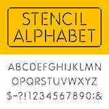 The Stencil Thin Alphabet Vector Font Royalty Free Stock Photos