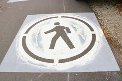 Stencil to Mark Walkway for Pedestrians Royalty Free Stock Photography