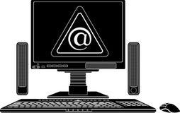 Stencil van computer met virtueel gevaarsteken stock foto