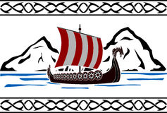 Stencil of viking ship Stock Photos