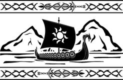 Stencil of viking ship Royalty Free Stock Photos