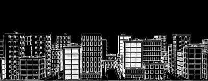 Stencil of a white city on a black background Vector Stock Photos