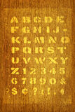 Stencil on wood type Stock Photography