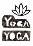 Stencil yoga inscription and lotus. Vector hand drawn stencil yoga inscription and lotus Stock Image