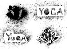 Stencil yoga inscription and lotus Stock Photography