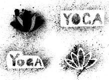 Stencil yoga inscription and lotus. Vector hand drawn stencil yoga inscription and lotus Stock Photography