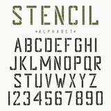Stencildoopvont Alfabet en aantallen voor stencil-plaat Uitstekende grungelettersoort Vector stock illustratie