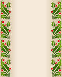 Stenciled holly border frame. A border made by a pattern of stenciled holly leaves & ripe, red berries.  Perfect for a background for stationary, on a holiday Royalty Free Stock Photo