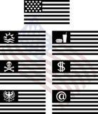 Stenciler av fantasiUSA-flaggor Fotografering för Bildbyråer