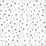 Stencils Christmas trees and snowflakes. Seamless pattern Royalty Free Stock Photography
