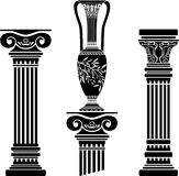 Stencils of columns and hellenic jug Stock Images