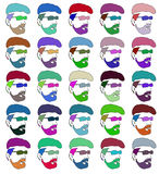Stencils faces of men of different colors. Raster. Stock Photos