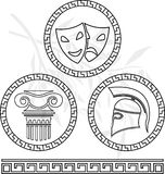 Stencils of hellenic images Stock Images