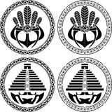 Stencils of native indian american masks and pyramids Royalty Free Stock Photography