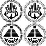 Stencils van inheemse Indische Amerikaanse maskers en piramides Royalty-vrije Stock Fotografie