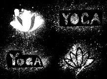 Stencilyogainskrift och lotusblomma Stock Illustrationer