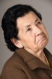 Stående av den gamla misslynta kvinnafarmodern Arkivfoton