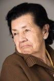 Stående av den gamla misslynta kvinnafarmodern Arkivfoto