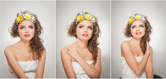 Stående av den härliga flickan i studio med gula rosor i hennes hår och nakna skuldror Sexig ung kvinna med yrkesmässig makeup Royaltyfri Foto