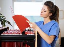 Stående av den härliga sjuksköterskan med mappen på veterinärkliniken Arkivfoton