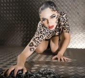 Stående av den härliga unga europeiska modellen i kattsmink och bodyart Fotografering för Bildbyråer