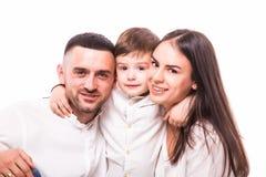 Stående av den lyckliga familjen: moder, fader och son Royaltyfri Foto