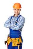 Stående av den lyckliga unga byggnadsarbetaren Arkivfoto