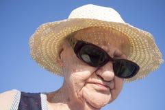 Stående av den nittioåriga kvinnan Royaltyfria Foton