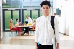 Stående av den tonårs- manliga studenten In Classroom Arkivfoto