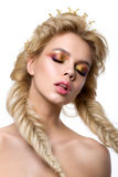 Stående av den unga härliga blonda kvinnan med idérikt smink Royaltyfria Bilder