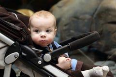 Stående av en behandla som ett barnpojke på en sittvagn Royaltyfri Bild