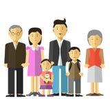 Ståenden av den lyckliga stora familjen fostrar och avlar tillsammans, farfarfarmodern, sondotter Arkivbild