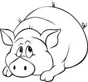 Stenditura del fumetto del maiale isolata sul fondo bianco Fotografia Stock Libera da Diritti