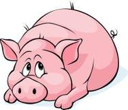 Stenditura del fumetto del maiale isolata sul fondo bianco Fotografie Stock