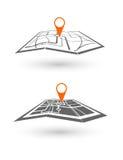 Stenditura di un viaggio dell'itinerario, navigazione di tecnologia di GPS dell'icona di turismo Fotografie Stock Libere da Diritti