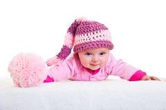 Stenditura infantile della neonata isolata sopra Fotografia Stock