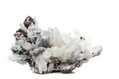 StenDrusus för makro mineralisk kvarts med sphalerite i vagga a Royaltyfria Foton