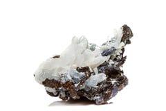 StenDrusus för makro mineralisk kvarts med sphalerite i vagga a Royaltyfria Bilder
