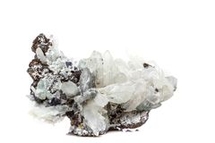 StenDrusus för makro mineralisk kvarts med sphalerite i vagga a Fotografering för Bildbyråer