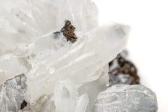 StenDrusus för makro mineralisk kvarts med sphalerite i vagga a Royaltyfri Fotografi