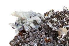 StenDrusus för makro mineralisk kvarts med sphalerite i vagga a Royaltyfri Bild
