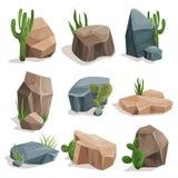 Stenen en aardrotsen met groene gras en cactusreeks, de elementen vectorillustraties worden geplaatst die van het landschapsontwe royalty-vrije illustratie