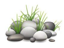 Stenen en groen gras Royalty-vrije Stock Afbeelding