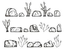 Stenen en installaties vectorschets De tekening van de hand Royalty-vrije Stock Foto