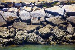 Stenen en rotsen in de oceanic baai, Tavira, Portugal Stock Foto's