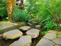 Stenen går i trädgården arkivbilder